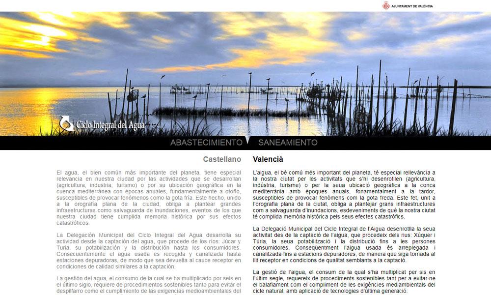Ciclo Integral del Agua, diseño web
