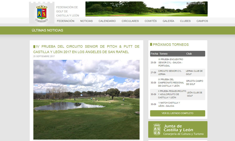 Federación de Golf de Castilla y León, diseño web