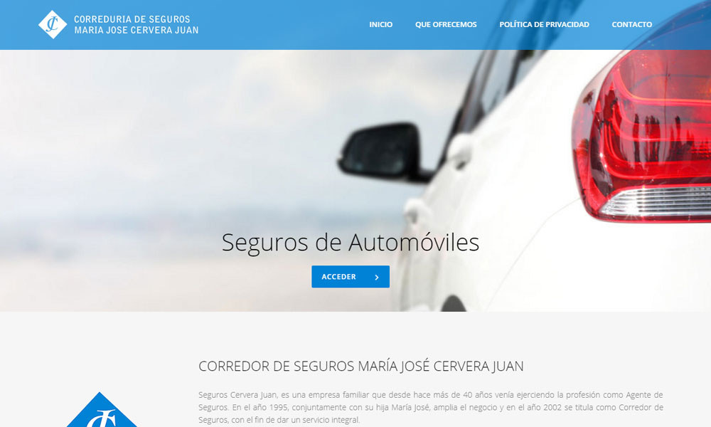 Seguros Cervera Juan, diseño web