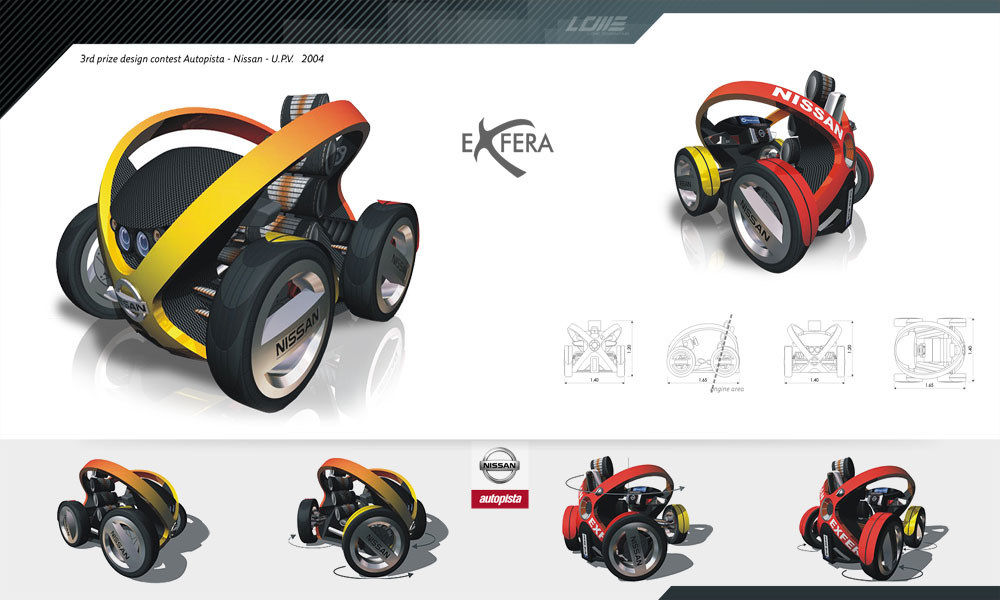 Nissan eXfera, sketches cars, diseño industrial, Autopista, Nissan, UPV