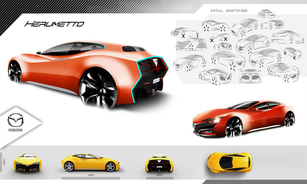 Mazda Herumetto, sketches cars, diseño industrial