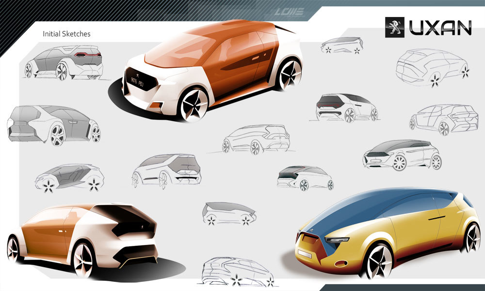 Uxam Peugeot, sketches cars, diseño industrial